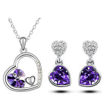 Diamante Bridal Purple Jewellery Hearts Set Drop Earrings Necklace Pendant S635
