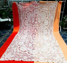 """Very large vintage needle point lace tablecloth light grey beige 119"""" x 64"""""""