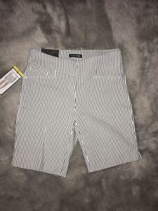 HILARY RADLEY Women's Bermuda Dressy Shorts Size S Small Off White/Black