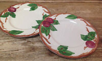 Franciscan Red Apple Green Leaves USA China 2 Salad Dessert Plates Vintage Leaf