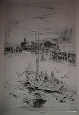 FISHERMEN'S WHARF PLATE A ETCHING BY JOHN W. WINKLER, MASTER ETCHER