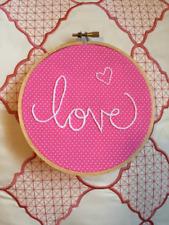 Handmade Pink & White Polka Dot Heart Love Wedding Embroidered Hoop Art