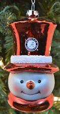 Alabama Crimson Tide Glass Snowman Head Christmas Ornament