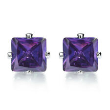 Elegant Purple Amethyst 7mm Square 18K White Gold Plated Stud Earrings