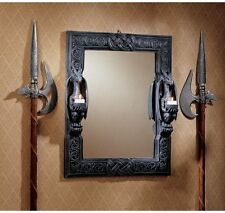 """24"""" Twin Medieval Gothic Dragons Decorative Mirror with Dragon Candle Holders"""