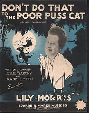 Don't Do That to the Poor Puss Cat 1928 Sheet Music