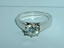 14K WHITE GOLD WHITE CUBIC ZIRCONIA ENGAGEMENT RING