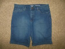 Riders By Lee Midrise Bermuda Womans 16 Blue Denim Stretch Longer Shorts Pockets