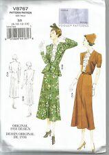 Vogue Sewing Pattern 8767, Retro 1938 Jacket, Dress, Belt, Sizes 8 - 14, New