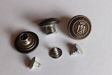 5 Jeansknöpfe / Patentknöpfe - Wappen / Krone - kupfer, ca. 17 mm Durchmesser