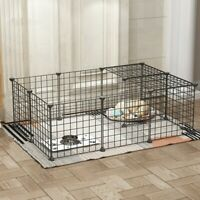Heavy Duty 16 Panels Metal Cage Crate Pet Dog Cat Fence Exercise Playpen Kennel