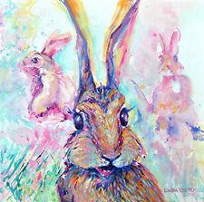 "'Bunny Barn' - pink & purple bunnies 12x12"" art print on 80lb paper"