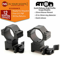 Quick release weaver rail rifle scope mounts /1x pair to fit 25&30mm scope rings