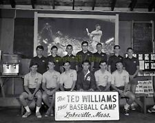 1967 Ted Williams Posing with Baseball Campers Lakeville MA - Vintage Negative