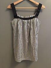 Zara White/Black Striped Silk-like Top Tank Top Blouse XS
