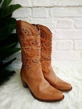 Ladies Next Tan Brown Leather Cowboy Boots Size UK 4 / 37 Tall Western Studed