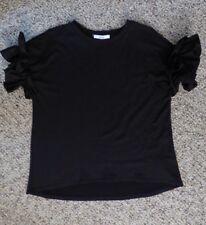 Ro & De Ruffle Sleeve Black Tshirt Small