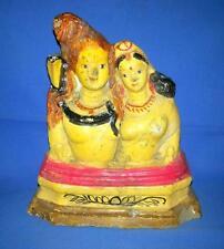 Antique Old Terracotta Hand Hindu God Shiv-Parvati Figure Statue Folk Art