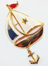 Vintage Signed Avon Enamel Sail Boat Anchor Charm Drop Nautical Brooch Pin