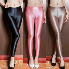 Women spandex satin glitter LEGGINS shiny gym pantyhose fitness Strumpfhosen