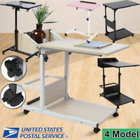 Adjustable Laptop Computer Mobile Rolling Table Desk Stand Bedside Study Tray US
