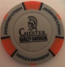 CHESTER, ENGLAND HARLEY DAVIDSON POKER CHIP (GRAY & ORANGE) UK