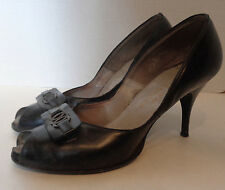 Vintage Black Leather Peep Toe Shoes High Heel Fiances Entwined 