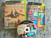 Star Wars the Clone Wars / Tetris Worlds Combo Xbox Video Game Case and Manual