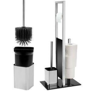 WC Garnitur inklusive Silikon-Klobürste | WC Ständer aus Glas und Edelstahl