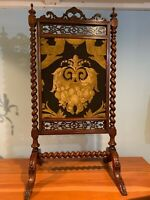Antique Hand Carved Walnut Needlepoint Fireplace Screen Victorian 2 sided a475