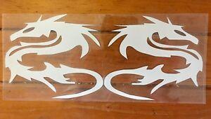 A Pair Dragon Funny Car/Windows Sticker Vinyl For BMW Audi Ford Peugeot (white )
