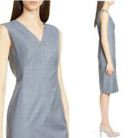 New HUGO BOSS Dalanis Wool Silk Sleeveless Sheath Dress Gray Blue 8 fits 10 12