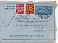 1949 Belgium Air Mail Cover to Doylestown Pennsylvania USA
