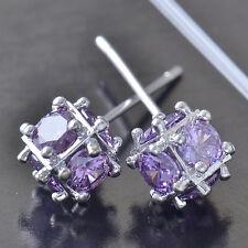 Brilliant 9K White Gold Filled Purple CZ Womens Megic Ball Stud Earrings,Z5188