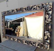 Specchio barocco in legno intarsiato cm 150x90 argento anticato modello classic