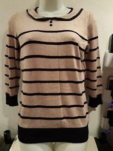 Wallis Petite. Beige/black Stripe Jumper. Size 10