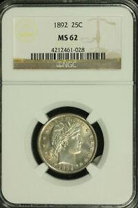 Barber Silver Liberty Quarter. 1892 P. NGC MS 62 Toning. Lot # 4212461-028