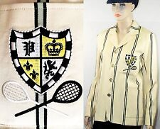 "$598 Polo Ralph Lauren sz 8 (~ 39"") Wool-Blend Beige Striped Cricket Jacket NEW"