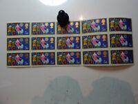 GB 1969  5d Christmas 3 Shepherds 15 stamp Block queen Elizabeth II
