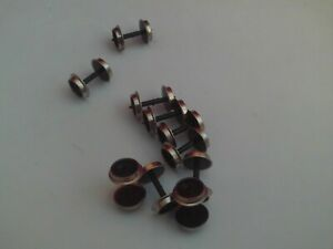 HORNBY SOLID DISC COACH WHEEL AXLES WITH METAL TYRES X 10 NEAR MINT.