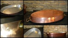 "E,DEHILLERIN French RARE new tin roasting pan HUGE 2mm hammered 25"" x 11 3/4"""