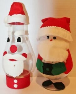 2 VTG CHRISTMAS SANTAS - Glass -HANDMADE - USA - EUC