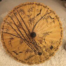 Vintage Oriental Wooden Umbrella Cranes 34�. Diameter Bamboo/Rice paper