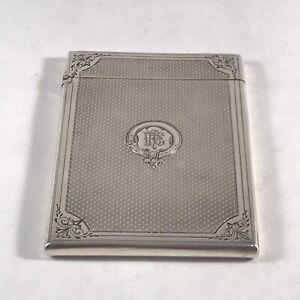 Solid Silver Hallmarked Card Case With Garter Insignia Birmingham 1866