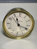 TIFFANY & CO Brass Desk Clock Vintage Round 3.75 inches Alarm Swiss Made 215728