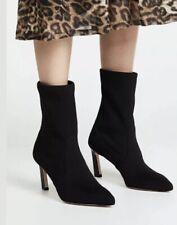 Stuart Weitzman Rapture 75 Bootie Black Suede Sock 8.5 W Wide Heeled Ankle Boots