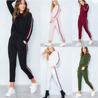 2PCS/SET Womens Tracksuits Ladies Striped Active Sport Loungewear Apparel Suit