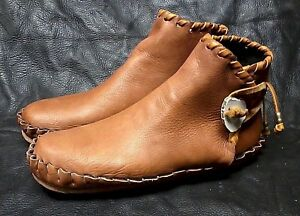 Buffalo Men's size 13 Moccasins Tobacco Brown indian Leather Bison  Pueblo Style