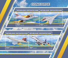 Central African Rep 2017 MNH Concorde 4v M/S Supersonic Jets Aviation Stamps