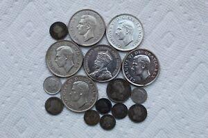 Canada Silver Coins, 1870-1952, 16 total, 5 C (5), 10 C (4), 25 C, 1 Dollar (6)